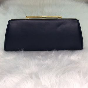 Vintage Blue Leather and Gold Handle Purse